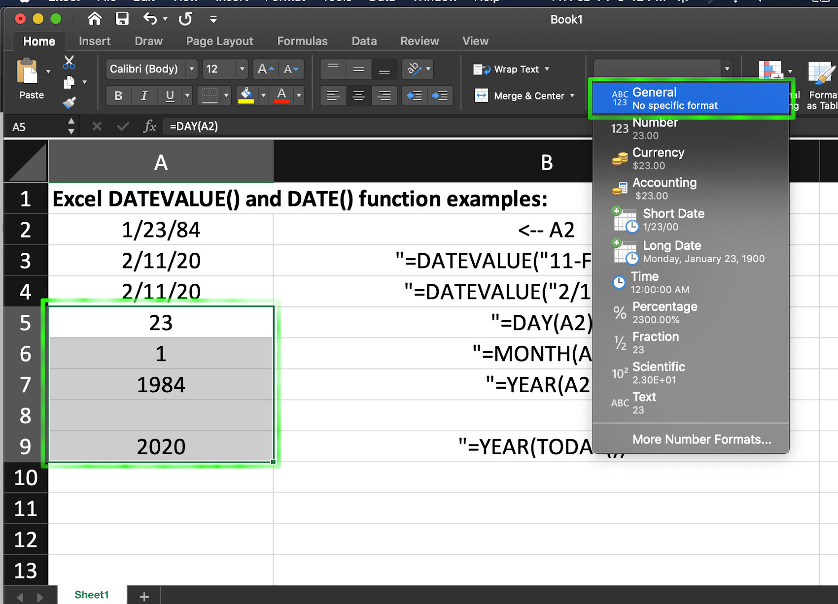 Screenshot of functions in Excel for date formulas to get date values