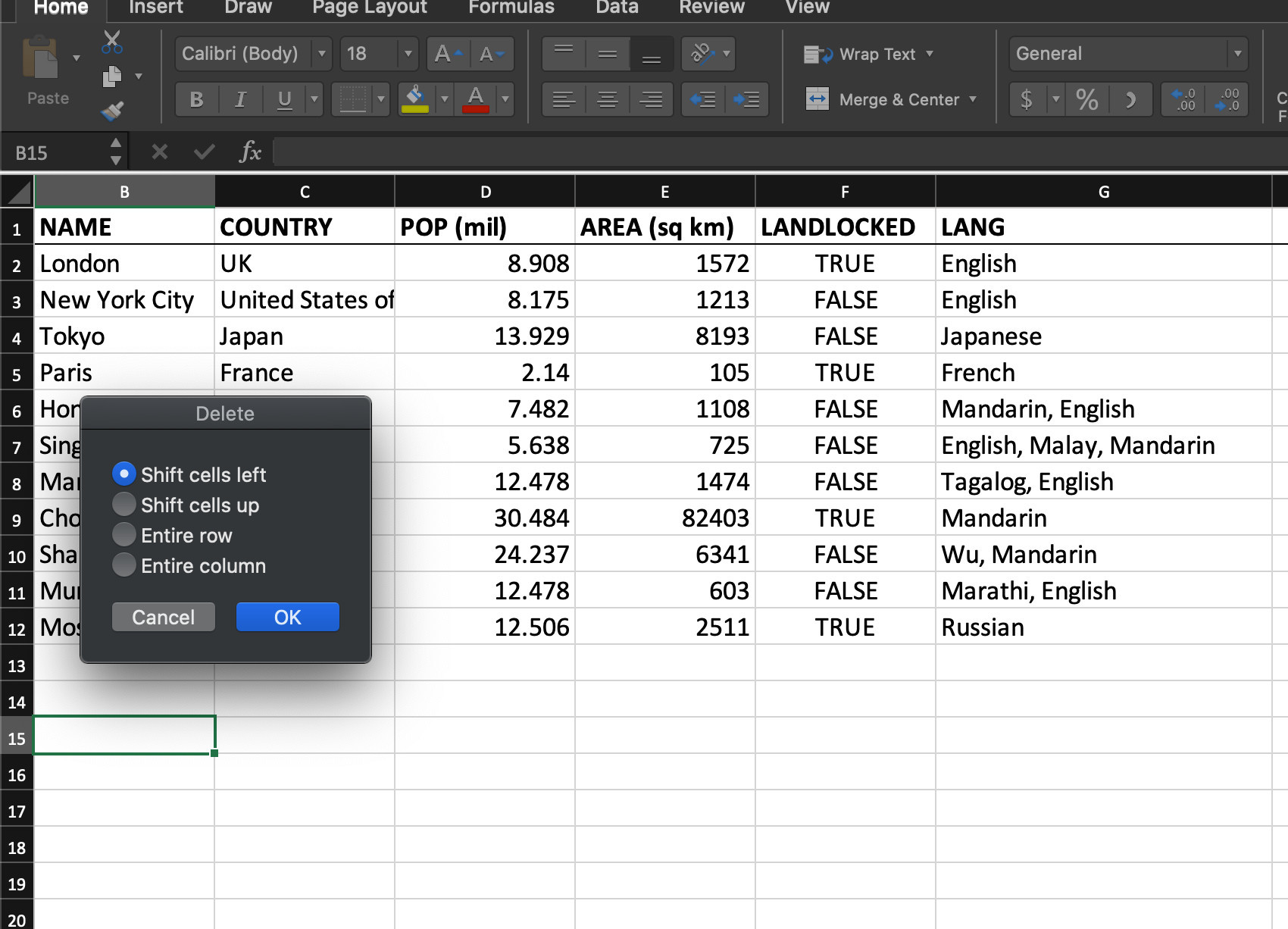 Screenshot of Excel shortcuts for shifting or deleting rows