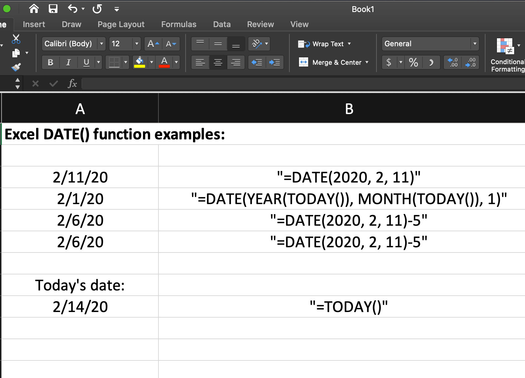 Screenshot of example functions in Excel for date formulas in a spreadsheet