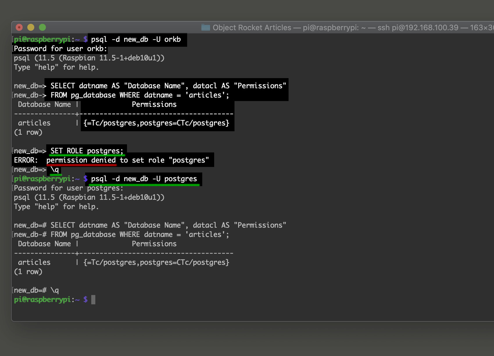 Screenshot of a permission denied error after using psql to select a database for PostgreSQL