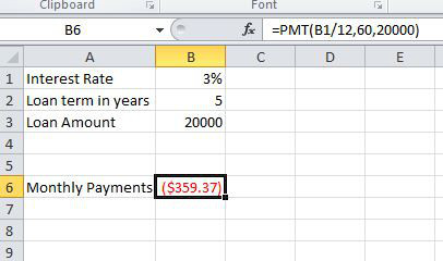 An example of the PMT function being used to calculate periodic payments