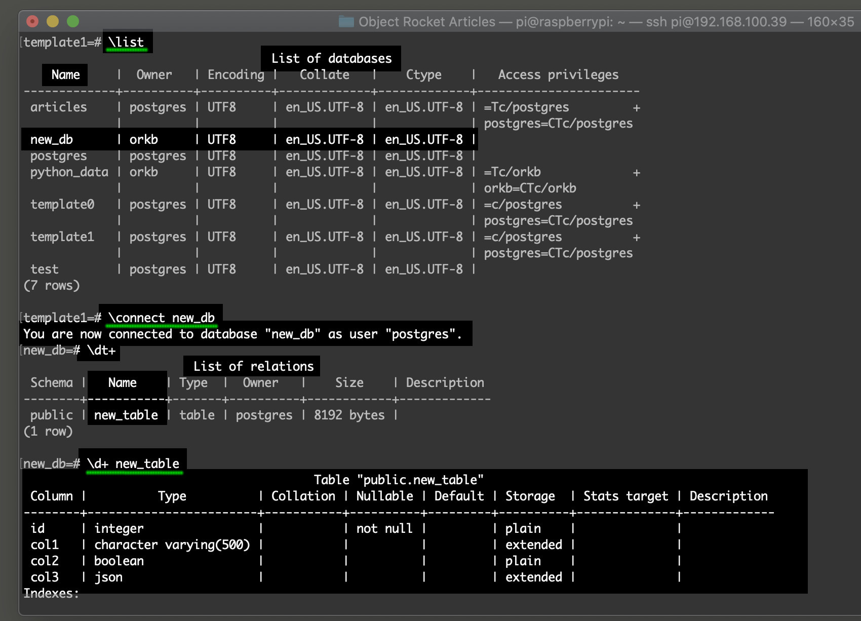 Screenshot of the commands in psql to select a database for PostgreSQL