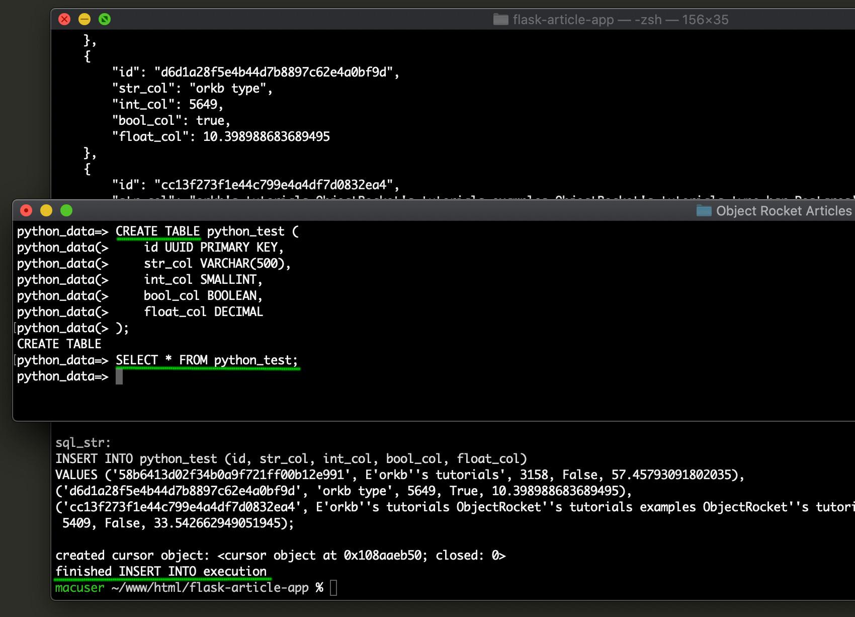 Screenshot of random Postgres records generated using Python