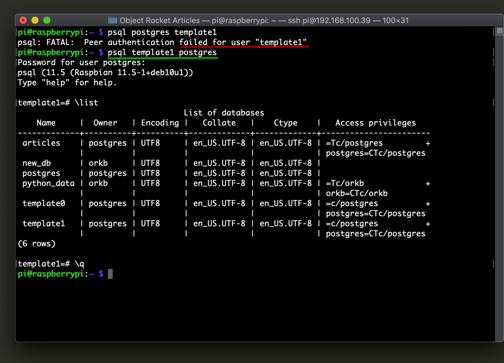 Screenshot of using psql to select a database from command line