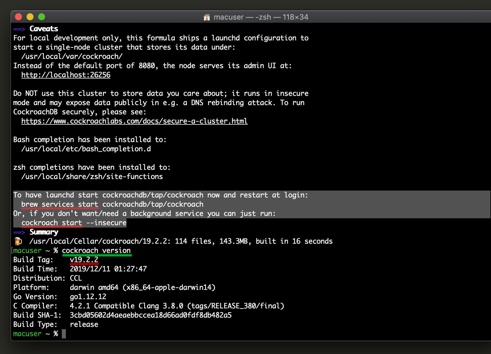 Screenshot of a successful installation of CockroachDB on macOS using Homebrew
