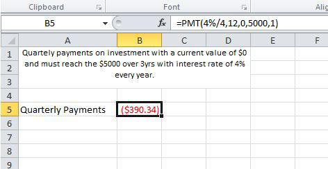 Screenshot of the PMT function being used to calculate quarterly payments