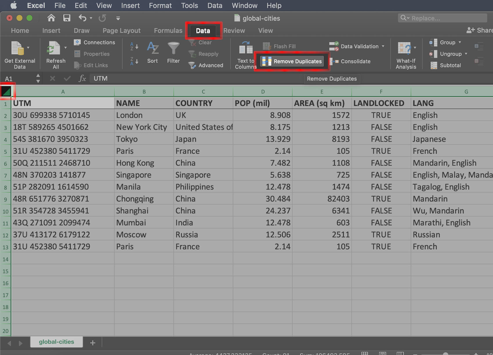 Screenshot of how to remove duplicates in an Excel spreadsheet