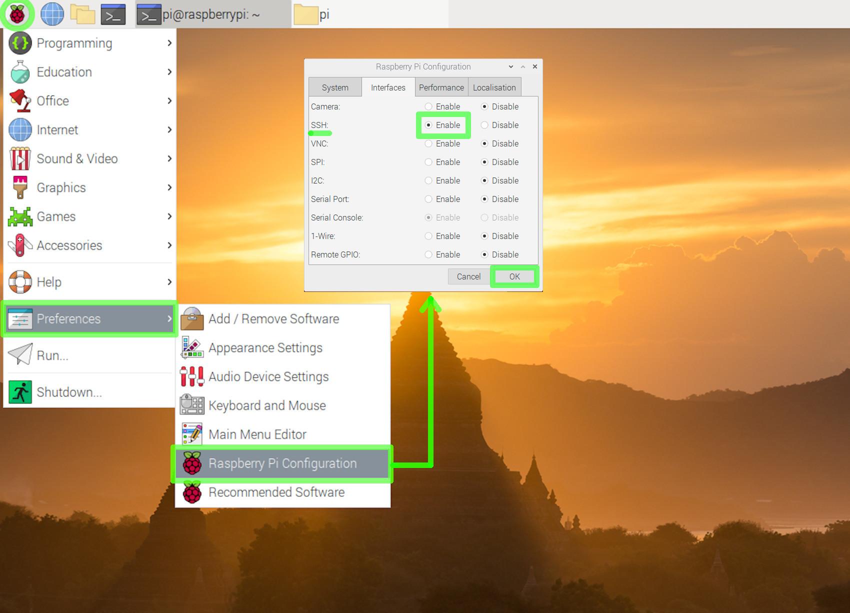 Screenshot of enabling SSH in Raspbian for a Flask Raspberry Pi MongoDB web app