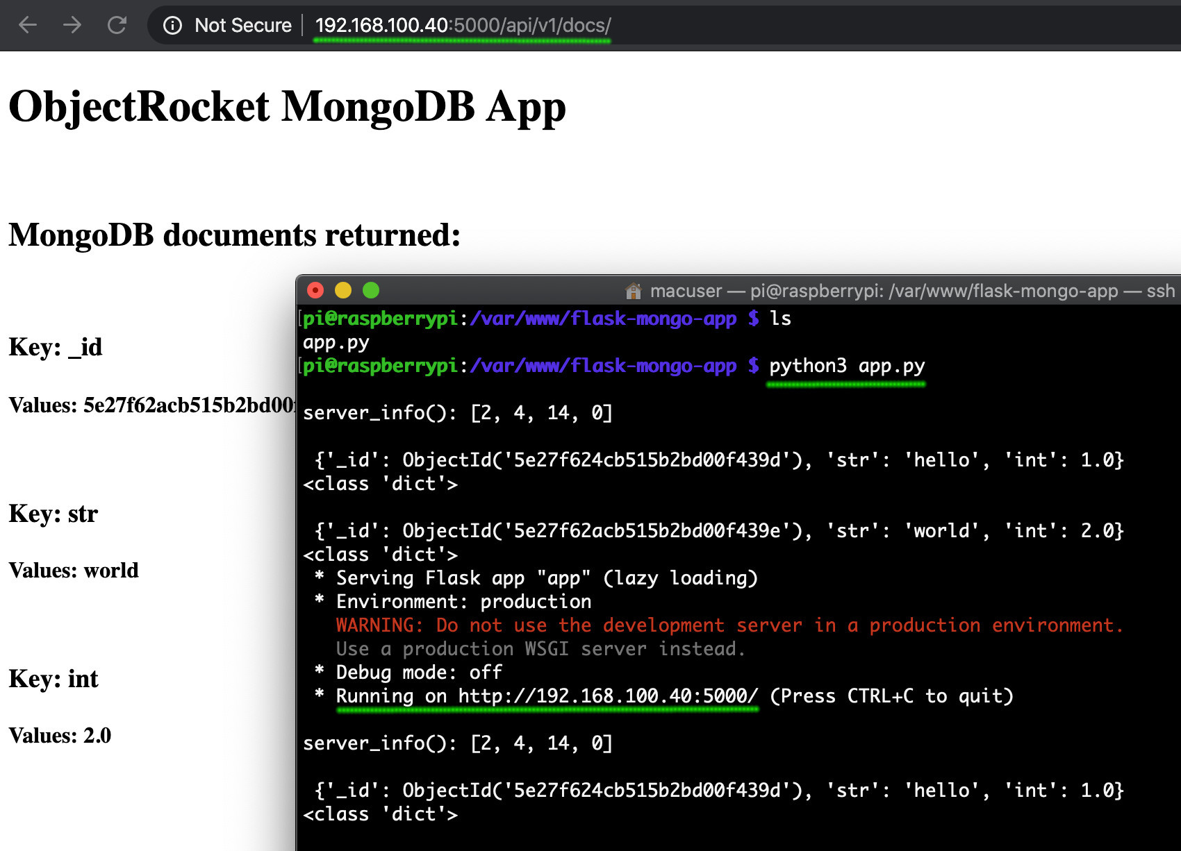 Screenshot of the Flask Raspberry Pi MongoDB web app returning documents in a browser