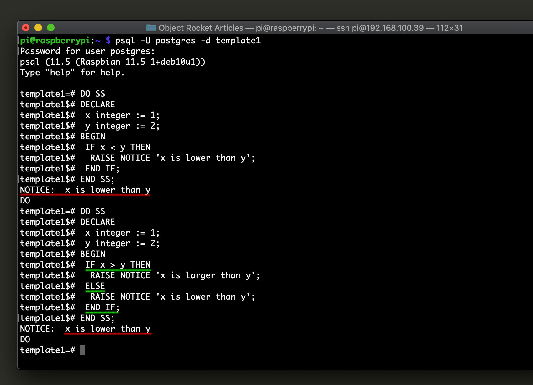 Screenshot of the Postgres IF statements in the psql command line interface for PostgreSQL