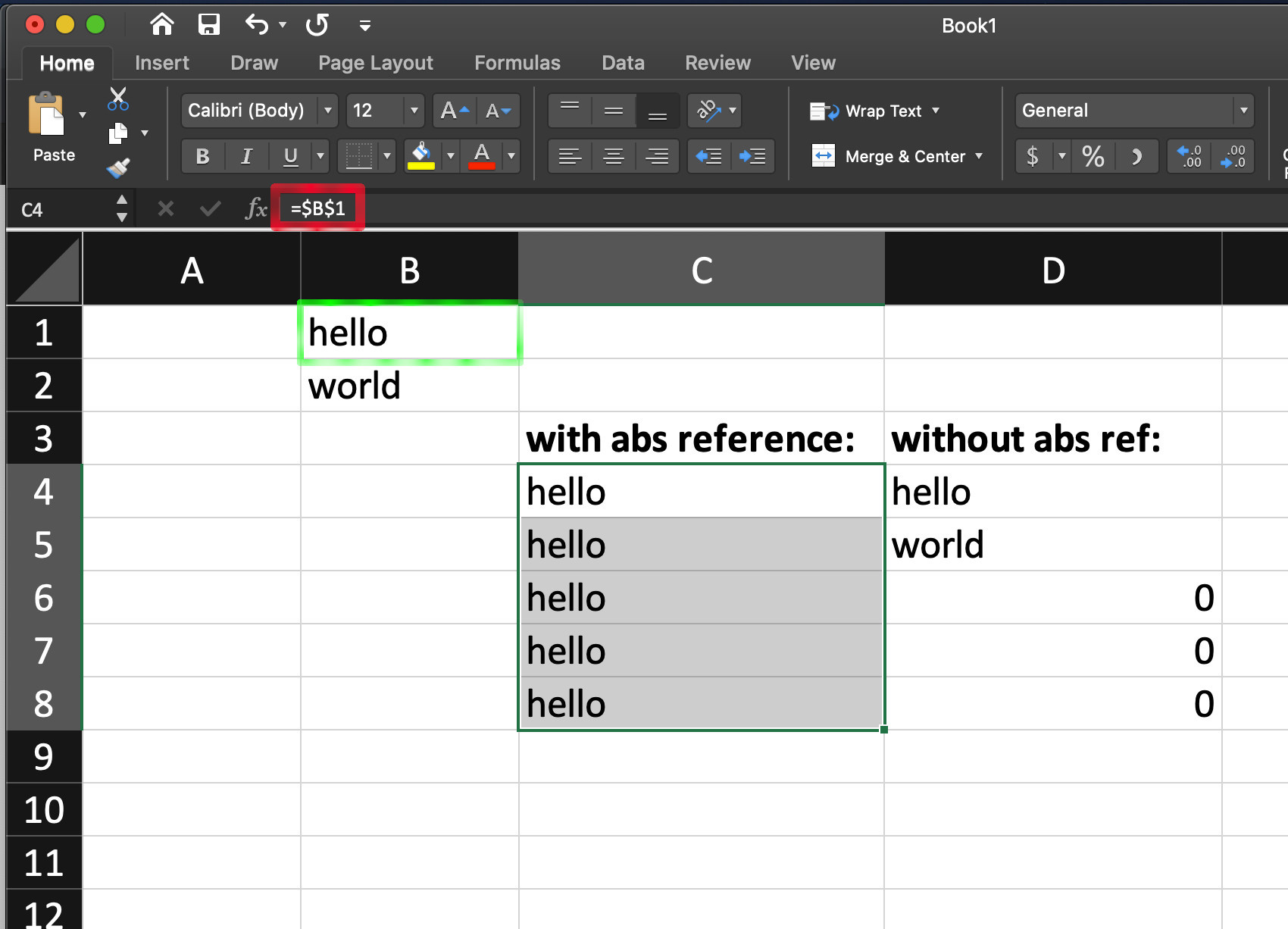 Screenshot of the Excel $ formula to create absolute references in a spreadsheet