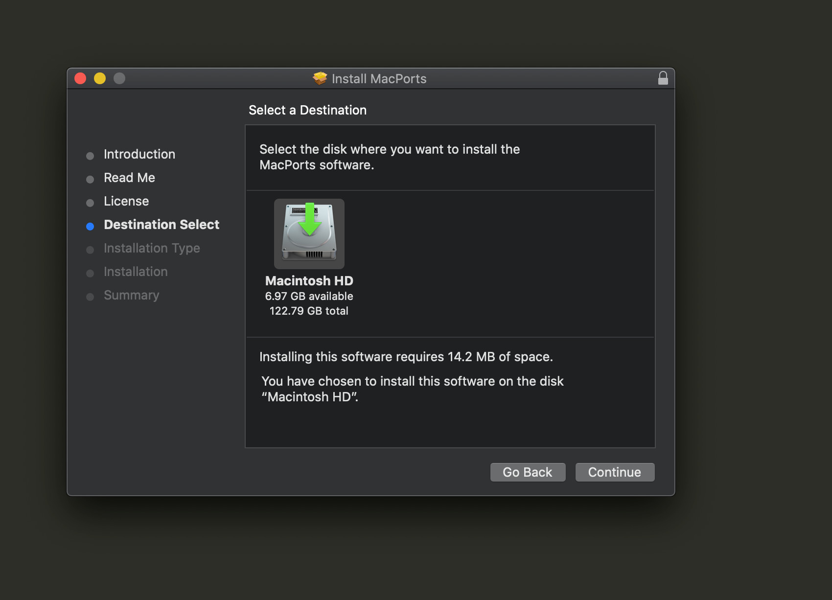 Screenshot of how to install PostgreSQL on a Mac by installing Macports