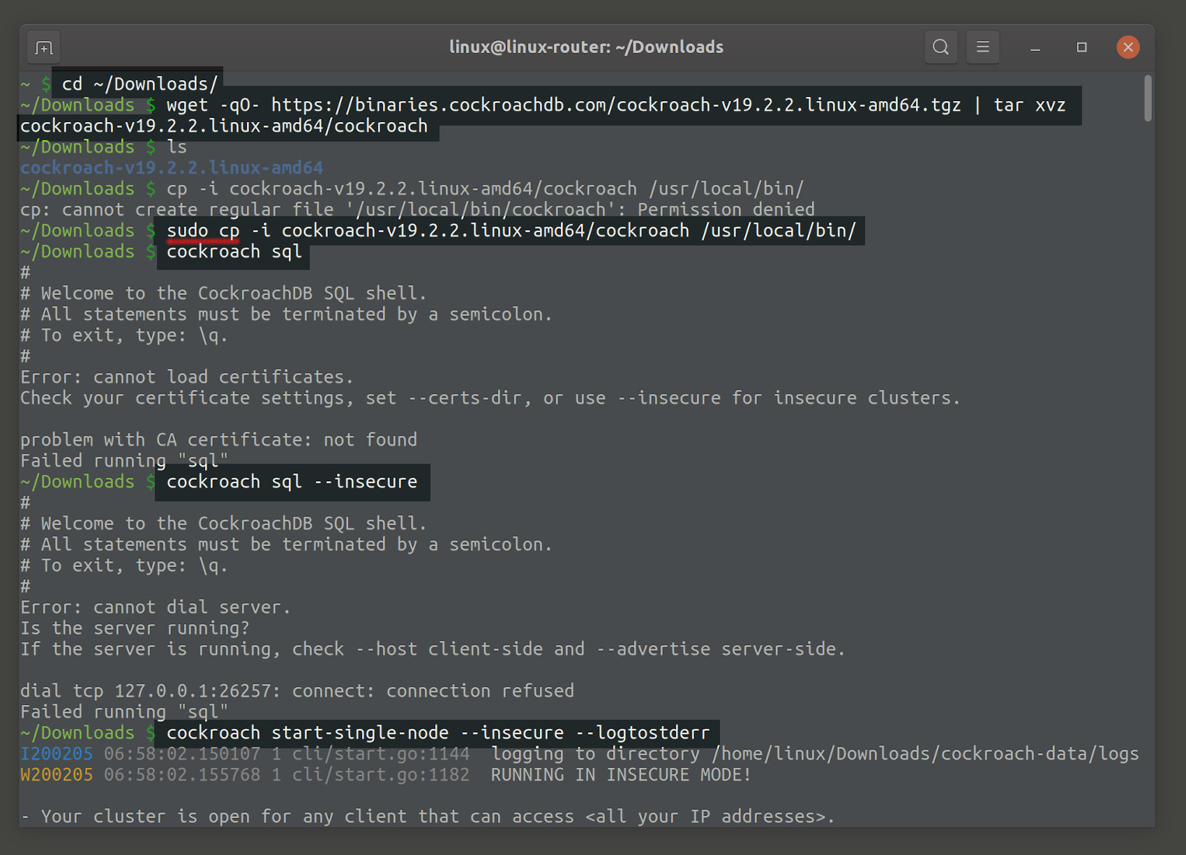 Screenshot of an install CockroachDB on Linux example from source binary