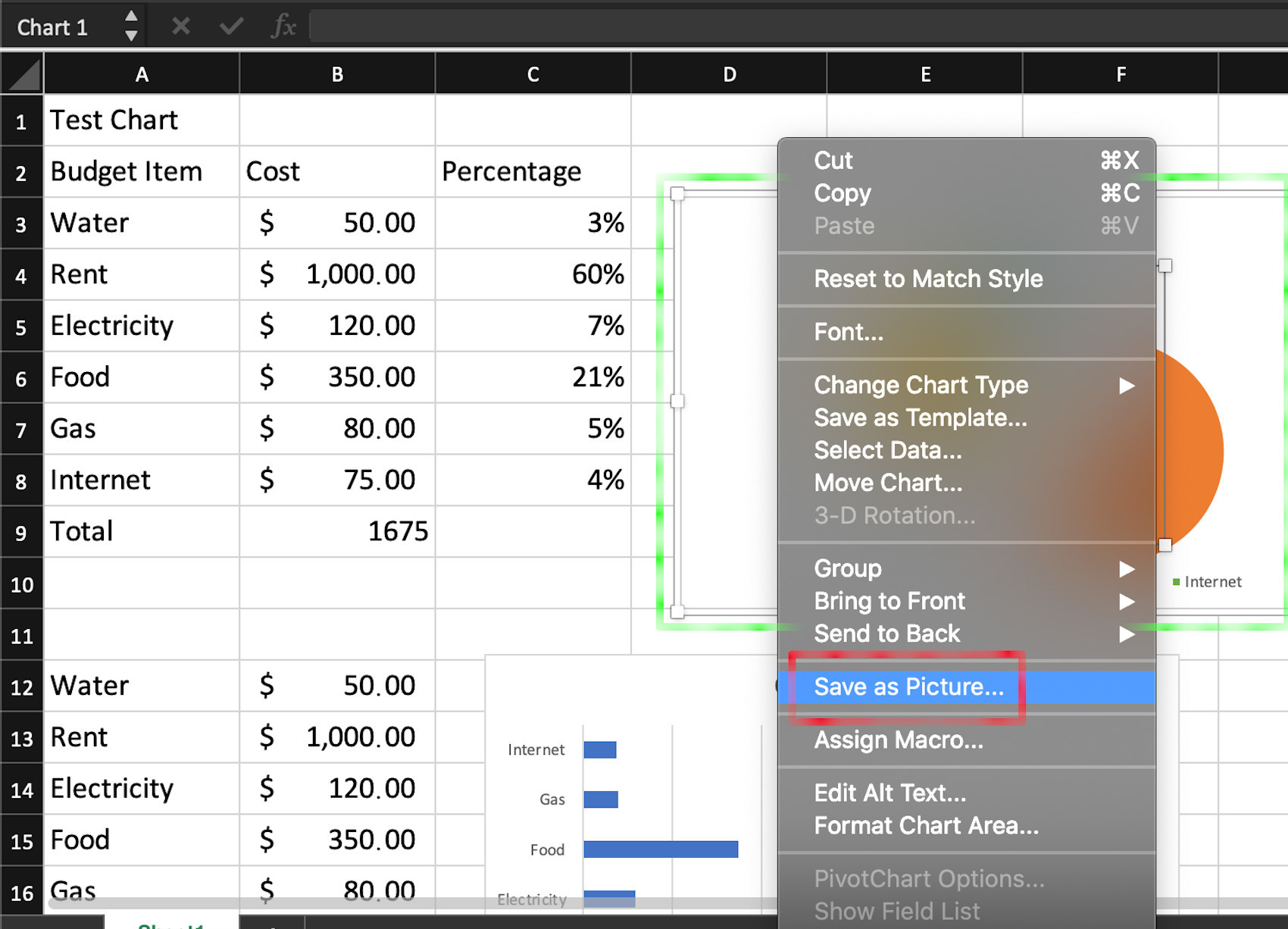 Screenshot of using Excel to save a chart as an image in macOS