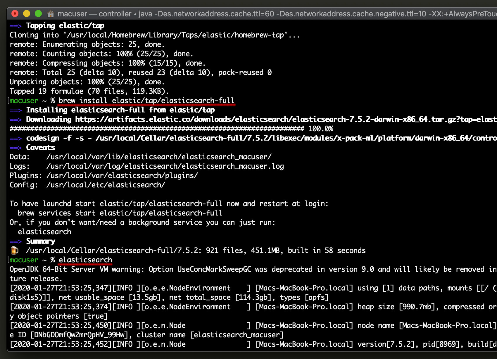 Screenshot of Elasticsearch list indexes installing Elasticsearch on macOS with Homebrew