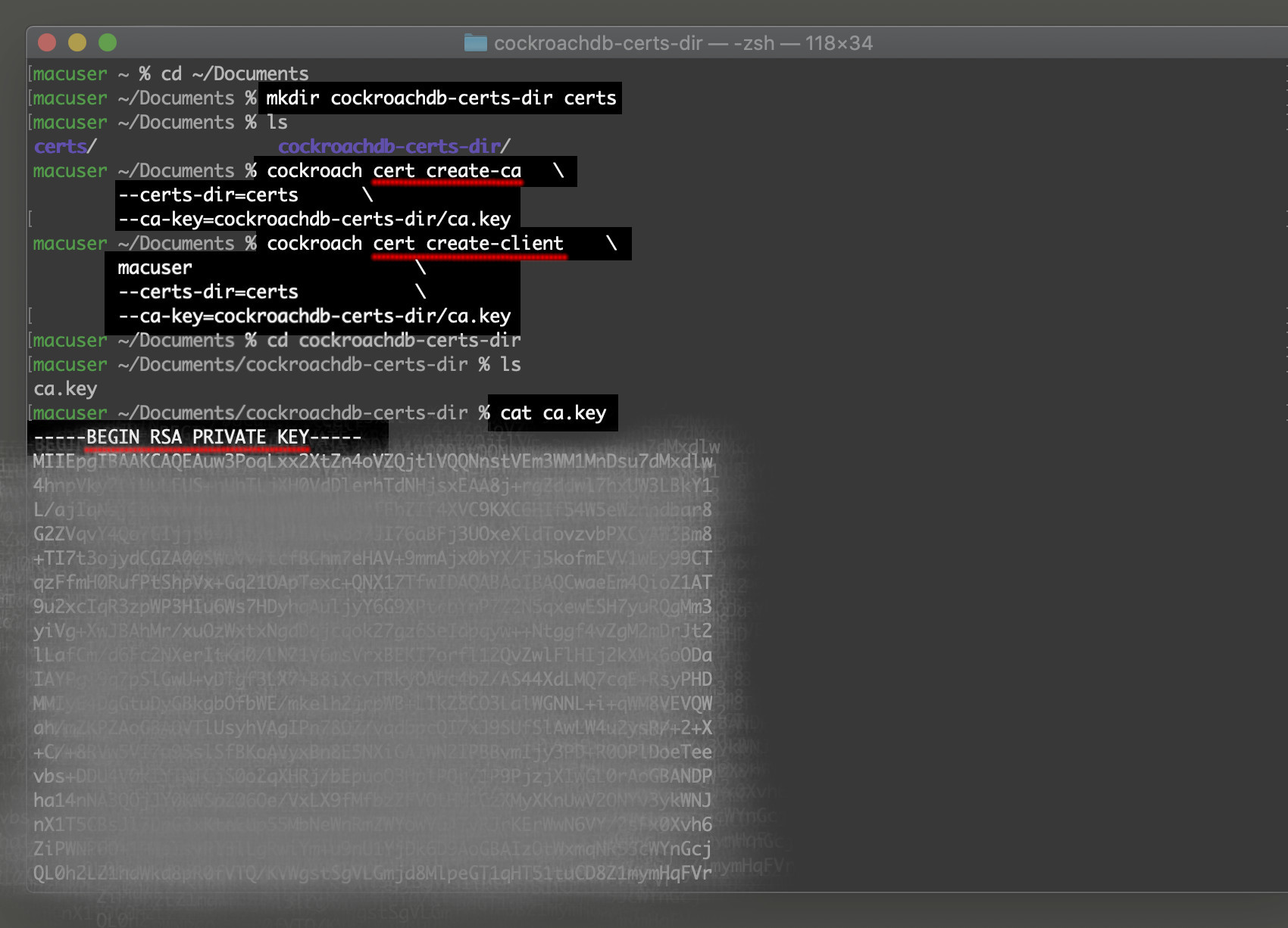 Screenshot of creating a certificate and key for a CockroachDB cluster with cockroach cert