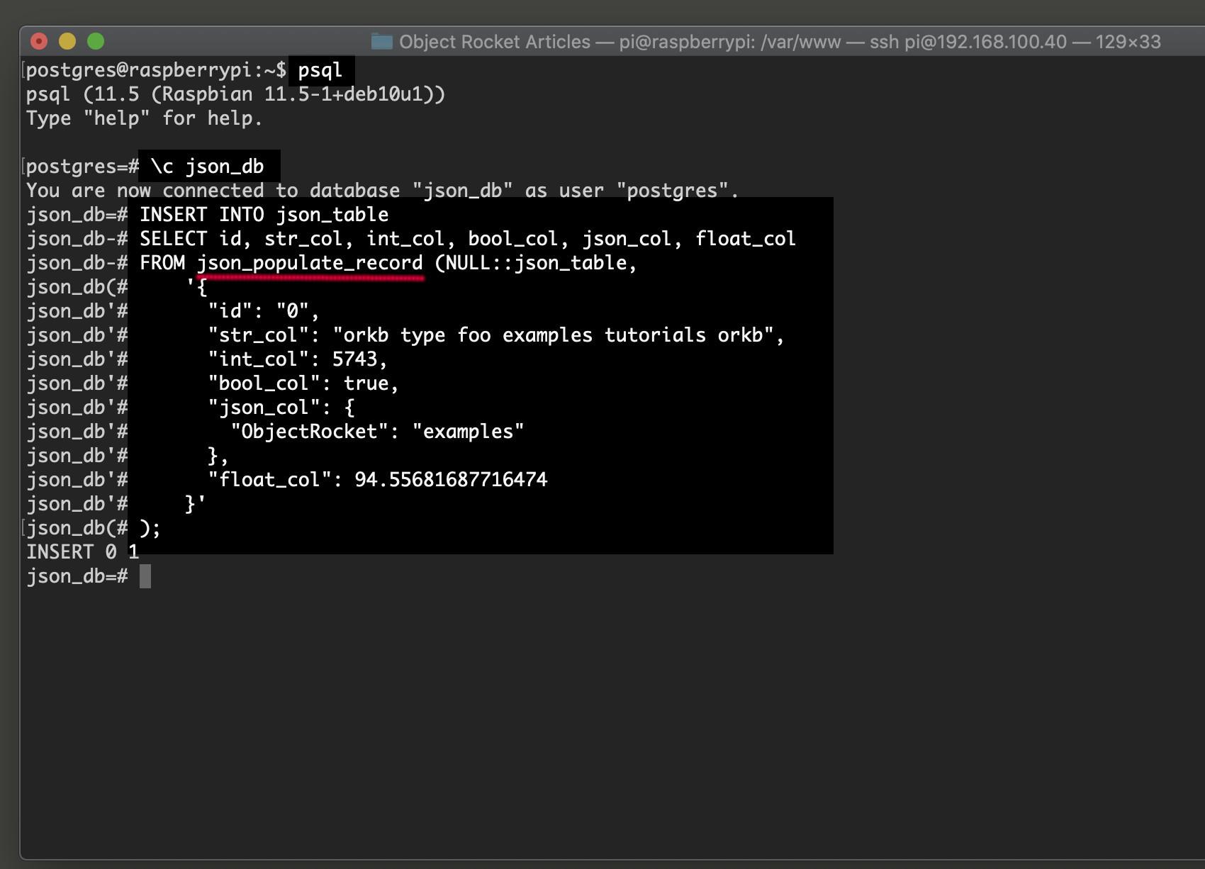 Screenshot of Postgres INSERT JSON data in psql using json_populate_record