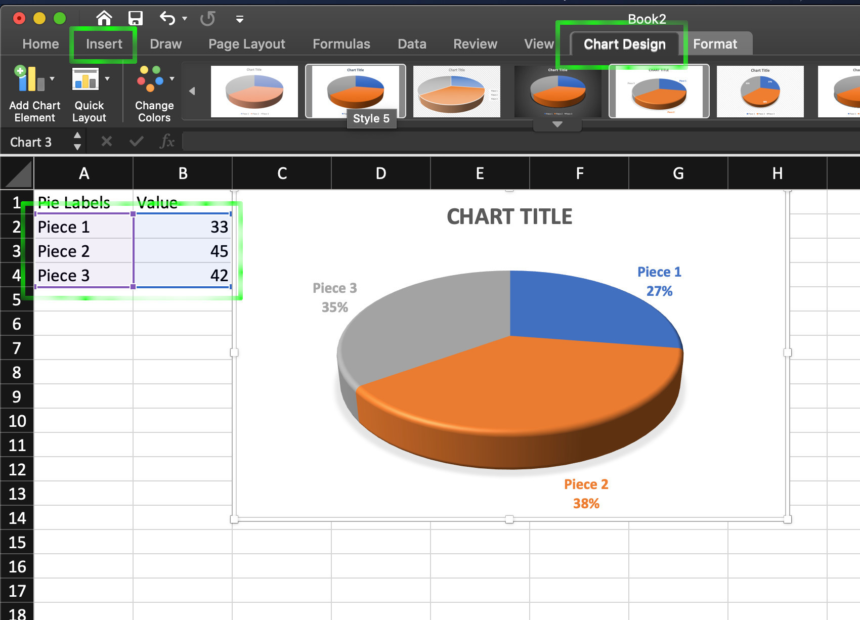 Selecting a chart design for an Excel pie chart in a spreadsheet