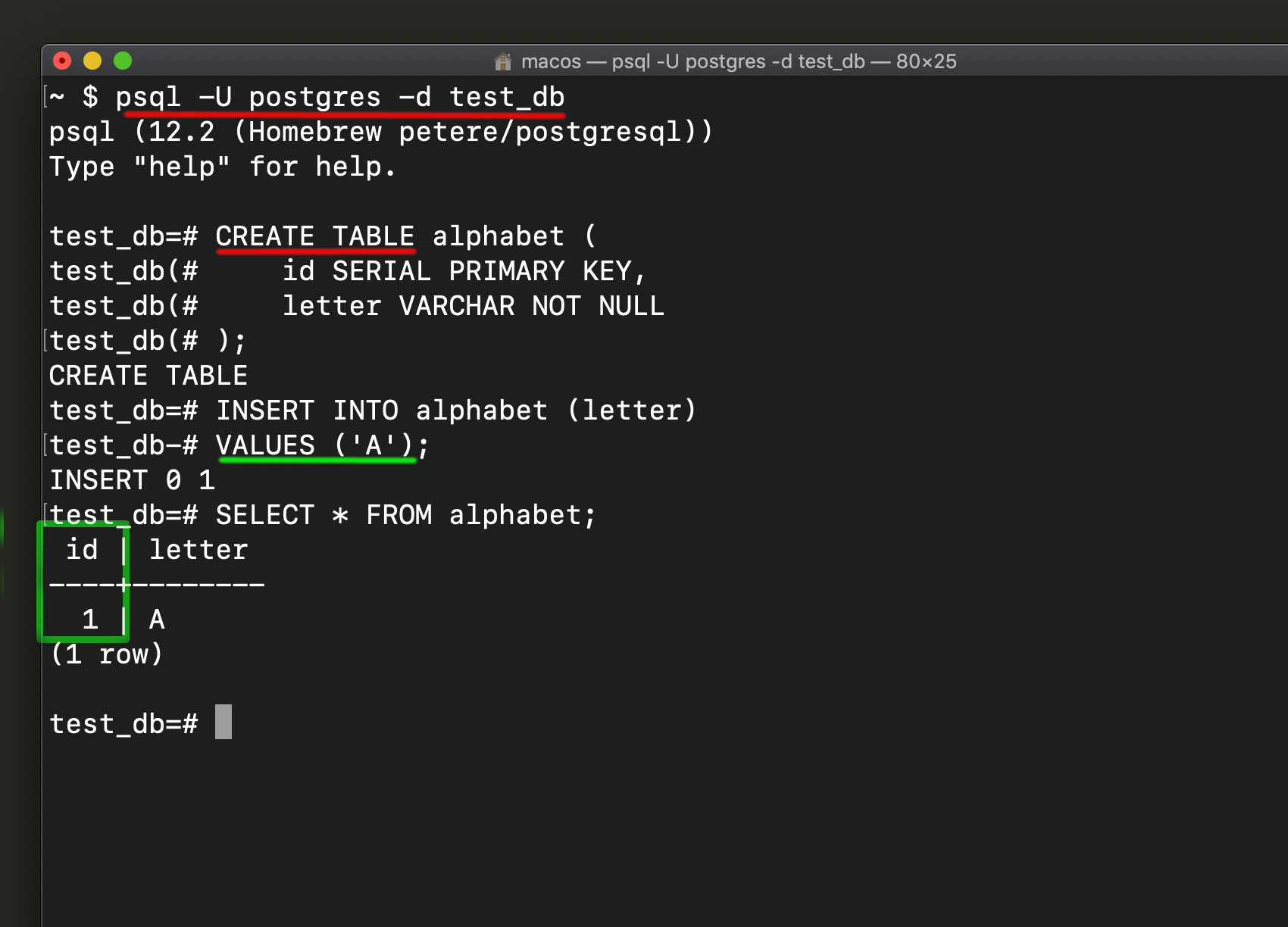 Screenshot of a Postgres serial primary key example by inserting a record