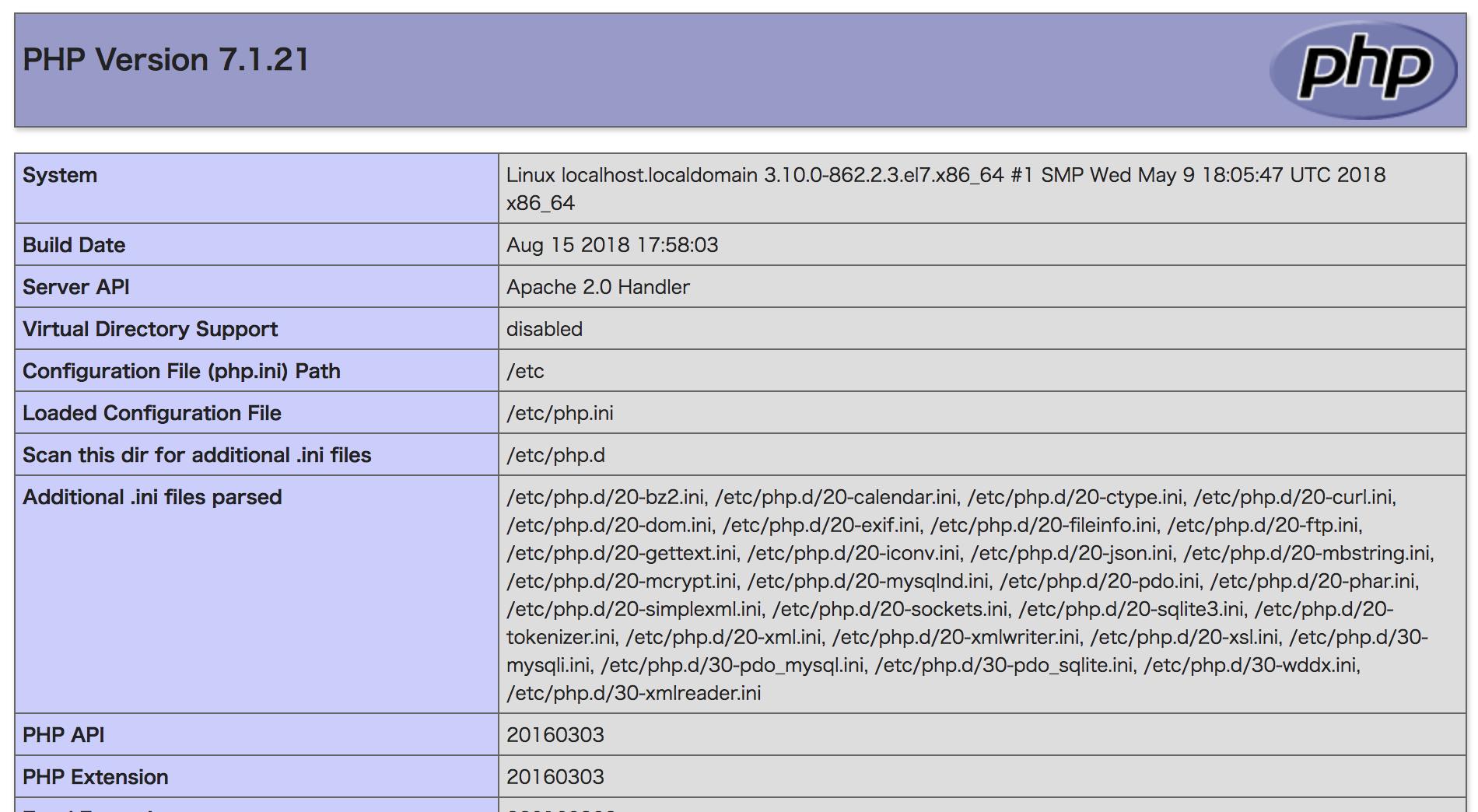 phpinfoが表示されている画面の画像